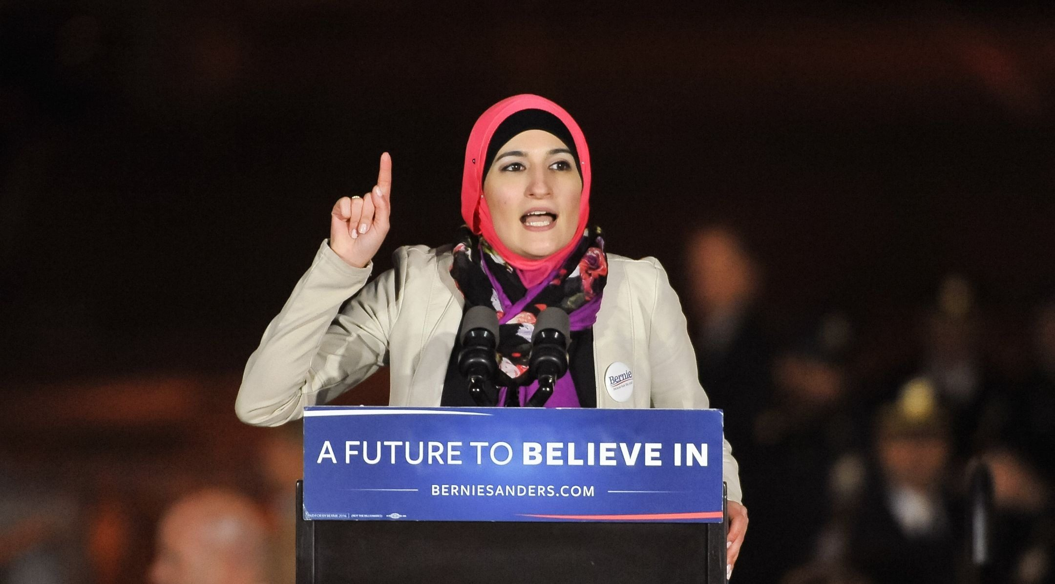Linda Sarsour speaks at a campaign event for Democratic presidential candidate Bernie Sanders at Washington Square Park in New York City, April 13, 2016. (Photo/JTA-D Dipasupil-WireImage-Getty Images)