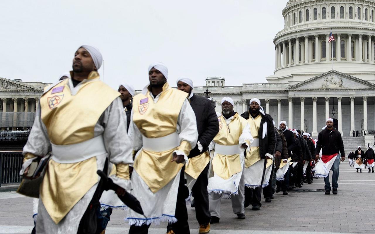 Members of the Black Hebrew Israelites walk from Capitol Hill in Washington, D.C., Nov. 13, 2018. (JTA/Brendan Smialowski/AFP via Getty Images)