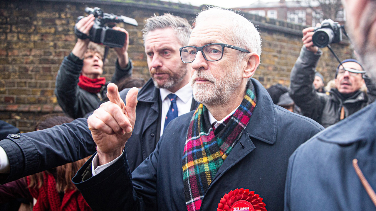 Labour Party Leader Jeremy Corbyn leaves a polling station after voting in the general elections in London, Dec. 12, 2019. (JTA/Yunus Dalgic/Anadolu Agency via Getty Images)