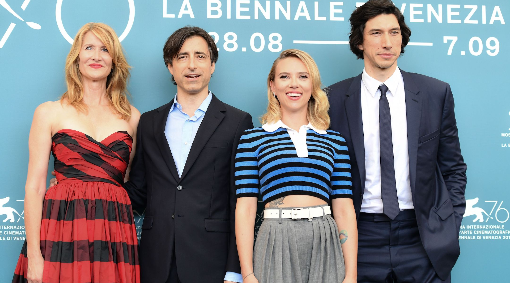 """(From left) Laura Dern, Noah Baumbach, Scarlett Johansson and Adam Driver at the Venice Film Festival for their film """"Marriage Story,"""" Aug. 29, 2019. (JTA/Alberto Pizzoli/AFP via Getty Images)"""