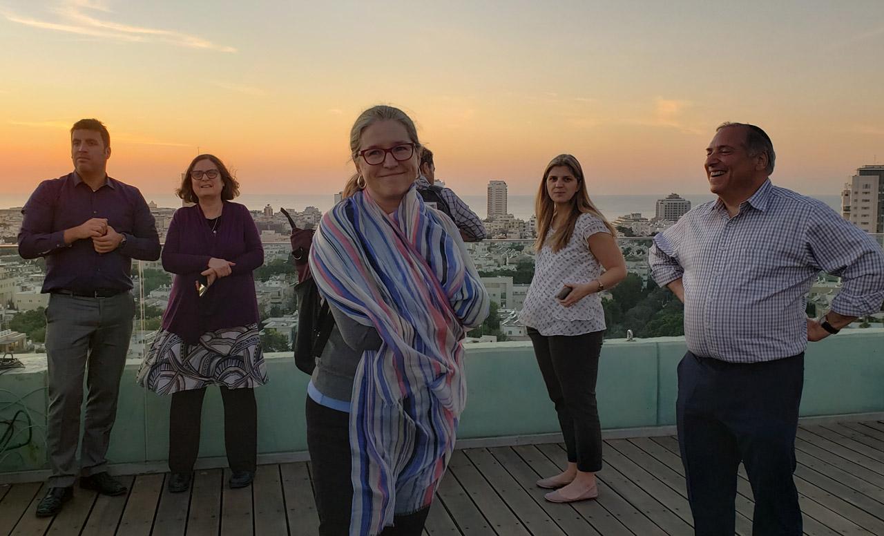 (From left) Israeli deputy consul general Matan Zamir, Rabbi Pam Frydman, Rabbi Susan Leider, Rabbi Jill Perlman and Rabbi Nat Ezray atop Tel Aviv cityhall on Nov. 20.