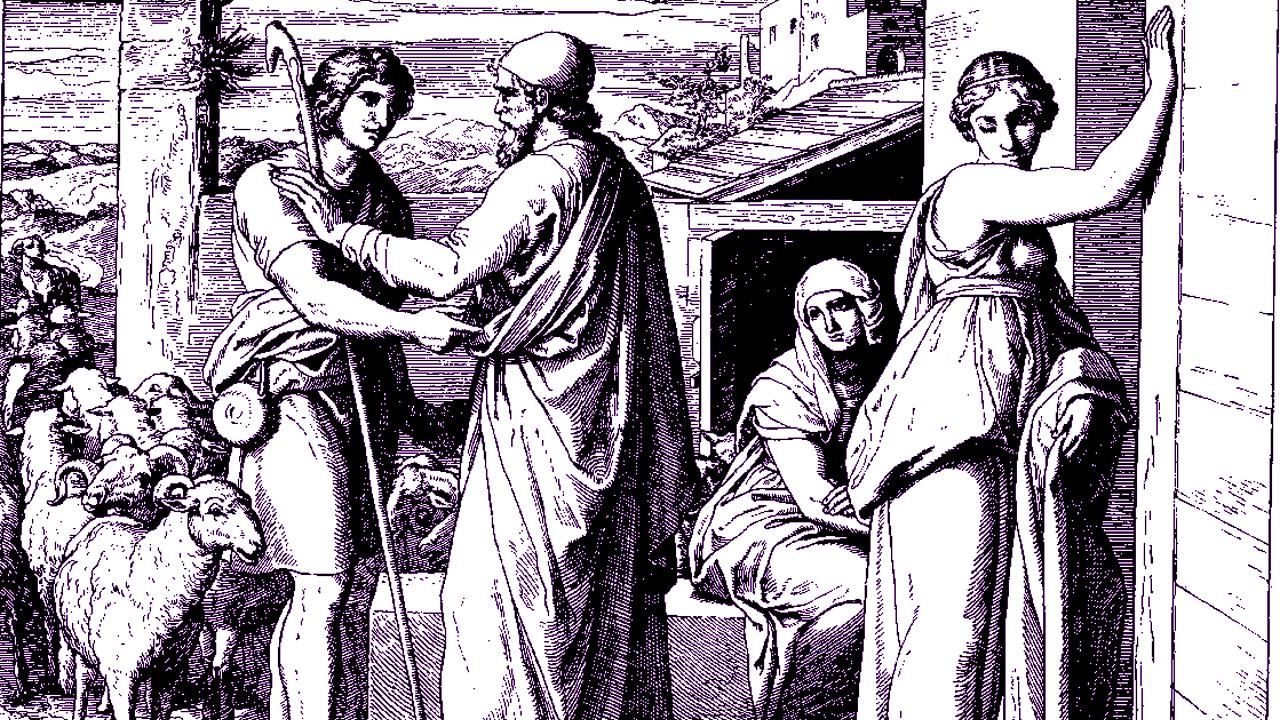 "From ""Jacob Tells Laban that He Will Work for Rachel,"" woodcut by Julius Schnorr von Carolsfeld, 1860"
