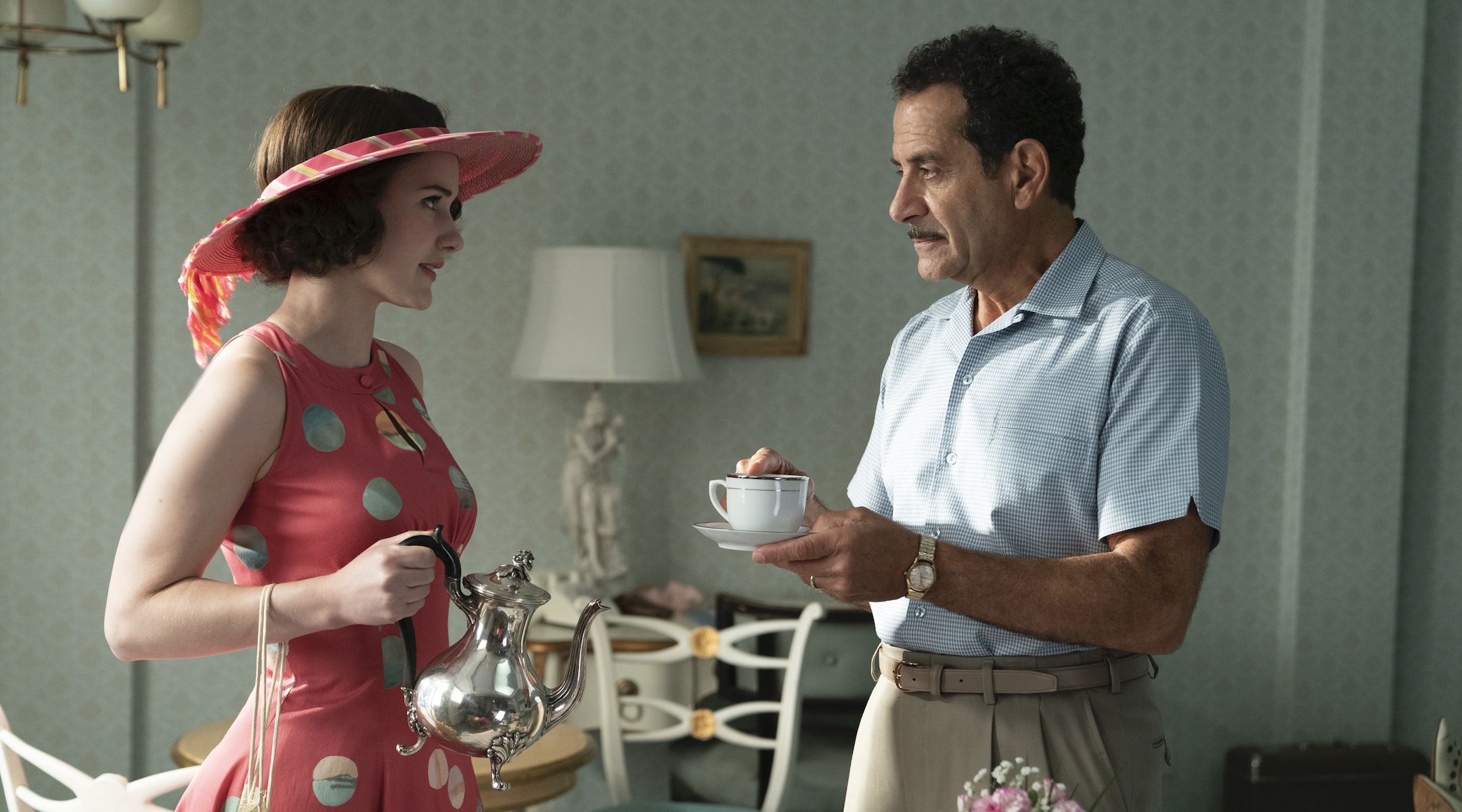 "Tony Shalhoub with Rachel Brosnahan in season 3 of ""The Marvelous Mrs. Maisel."" (Photo/Amazon Studios)"