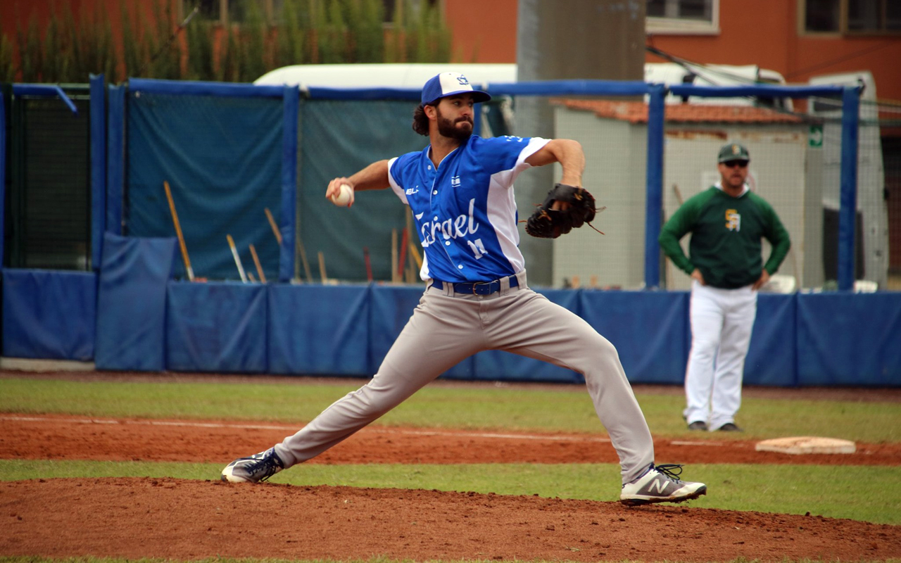 Joey Wagman delivers a pitch during a Team Israel win over South Africa in an Olympic qualifying game, Sept. 22, 2019. (Photo/Margo Sugarman-Israel Association of Baseball)