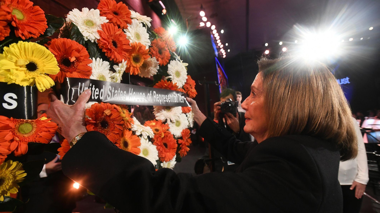Speaker of the United States House of Representatives Nancy Pelosi lays a wreath during the Fifth World Holocaust Forum in Jerusalem, Israel on January 23, 2020. (Pool/Getty Images)