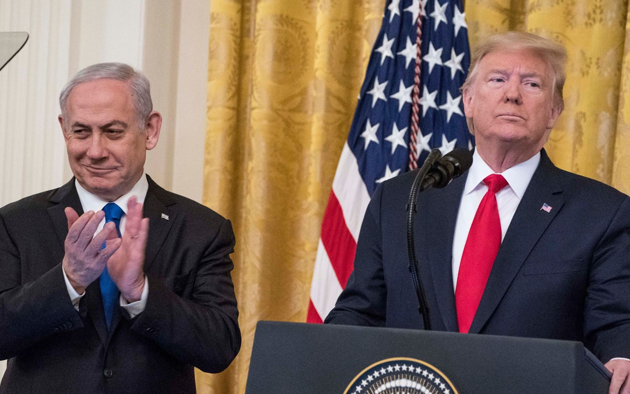 President Donald Trump and Israeli Prime Minister Benjamin Netanyahu speak during a joint statement at the White House, Jan. 28, 2020. (JTA/Sarah Silbiger/Getty Images)