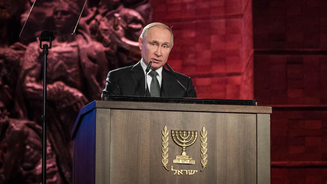 Russian President Vladimir Putin speaks at the Fifth World Holocaust Forum at the Yad Vashem Holocaust memorial museum in Jerusalem, Jan. 23, 2020. (JTA/Yonatan Sindel/Flash90)