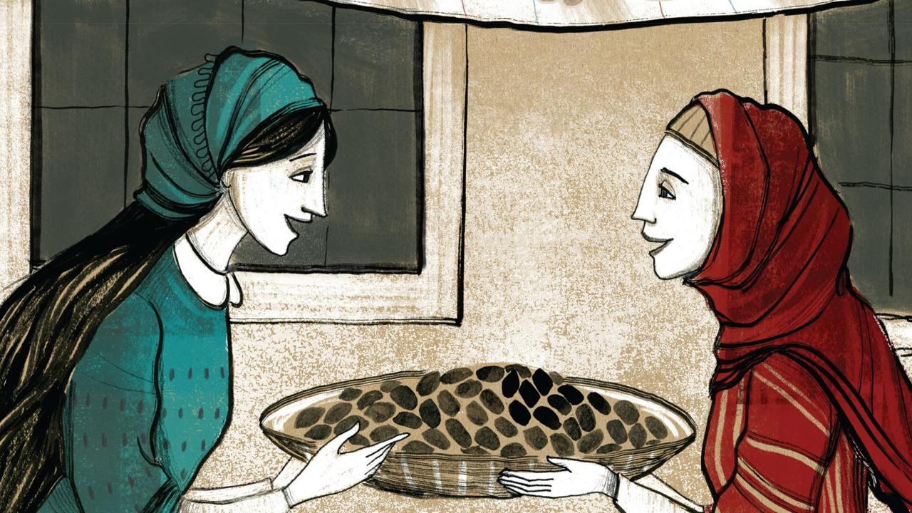 "From the cover of ""Yaffa and Fatima: Shalom, Salaam"" by Fawzia Gilani-Williams."
