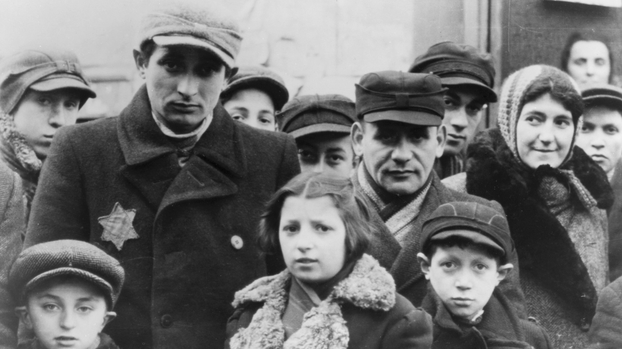 Jews wearing Star of David badges in the Lodz Ghetto in Poland. (JTA/Jewish Chronicle/Heritage Images/Getty Images)