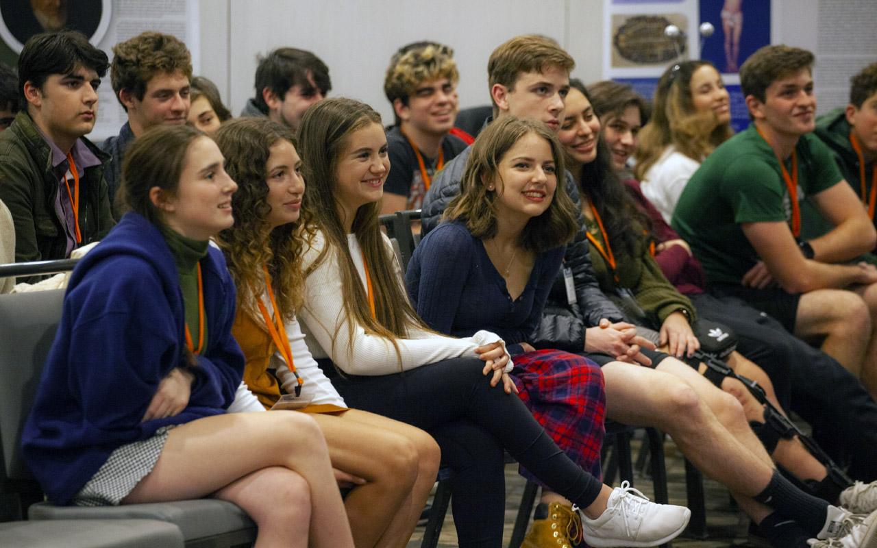 Teens listen to a keynote address at the 2020 Club Z convention in San Mateo. (Club Z)