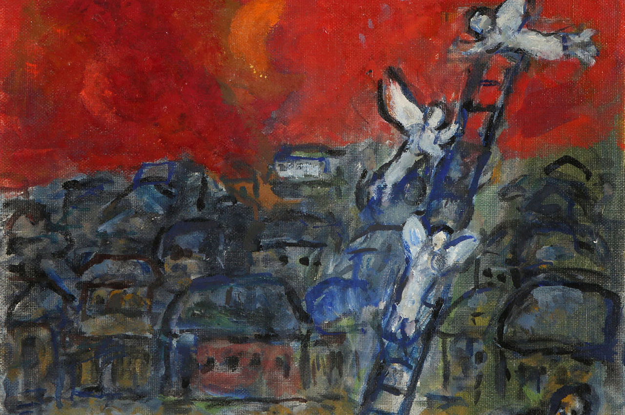 """Bidding on """"Jacob's Ladder,"""" a Chagall oil on canvas, will start at $110,000. (Courtesy Tiroche Auction House)"""