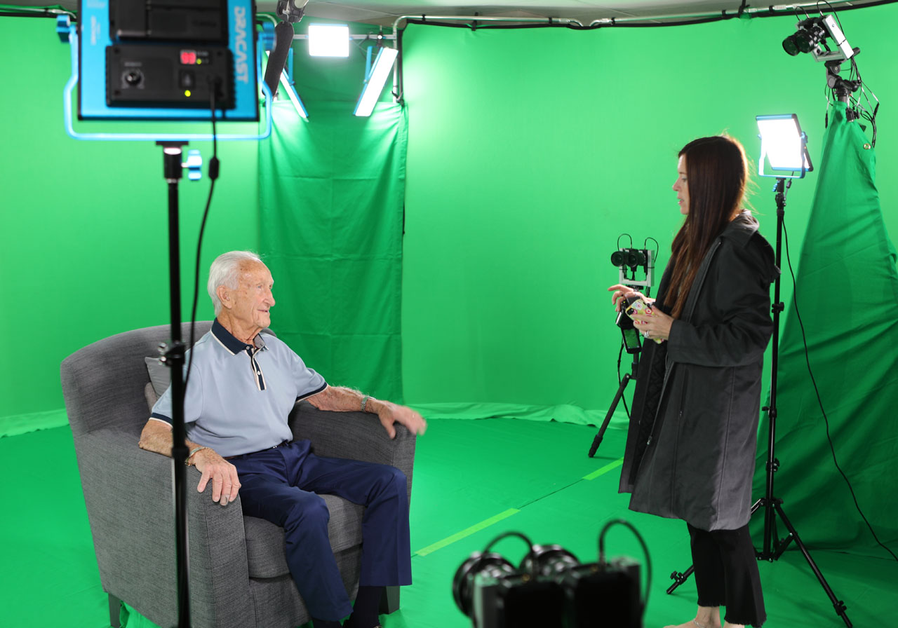 "Production of USC Shoah Foundation's ""Dimensions in Testimony"" program, which makes holograms of Holocaust survivors' testimonies. (Courtesy USC Shoah Foundation)"