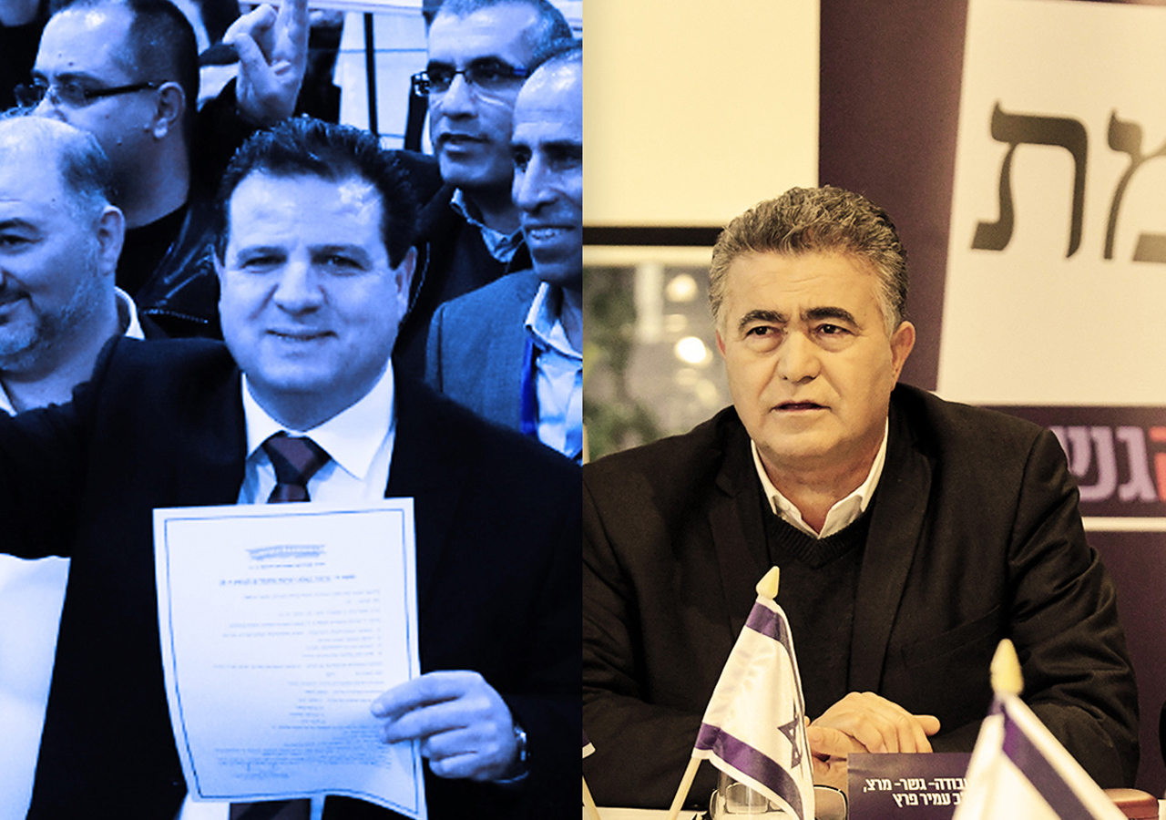 At left, Joint Arab List leader Ayman Odeh presents his party's list to the election committee at the Israeli parliament in Jerusalem, Jan. 15, 2020. (JTA/Olivier Fitoussi/Flash90); at right, Labor Party leader Amir Peretz is seen at a meeting of the Labor-Gesher and Meretz parties in Tel Aviv, Jan. 20, 2020. (JTA/Flash 90)