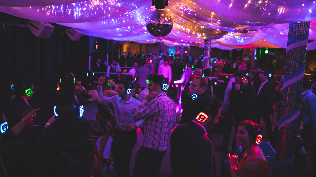 "The ""silent disco"" at Jewbilee SF's Latke Ball, Dec. 24, 2019."