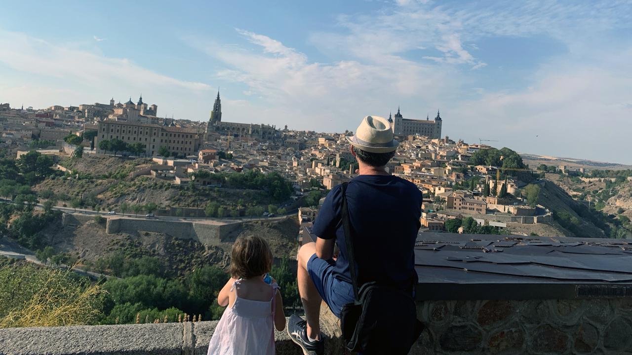 Dan Schifrin and daughter Elia overlooking the Spanish city of Toledo.