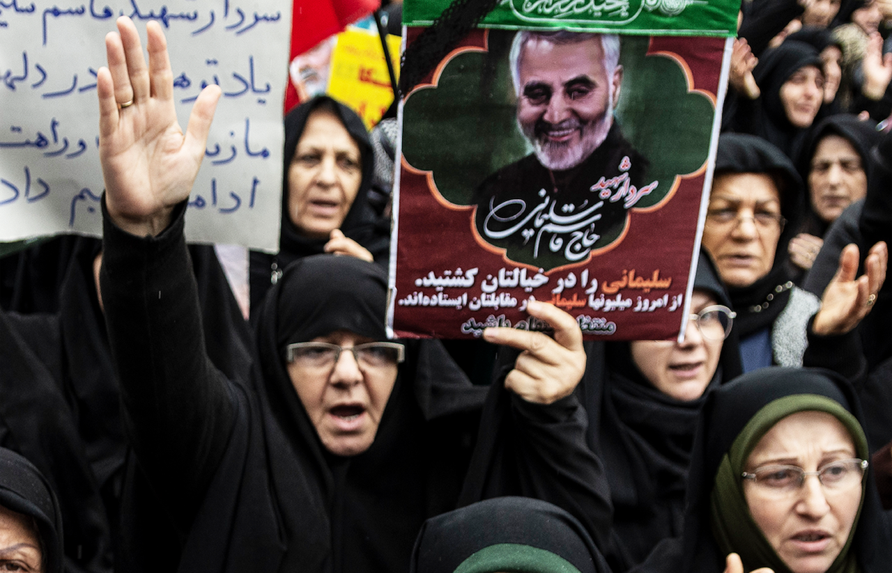 A protest against the murder of General Qasem Soleimani in Rasht, Iran. (JTA/Babak Jeddi/SOPA Images/LightRocket via Getty Images)