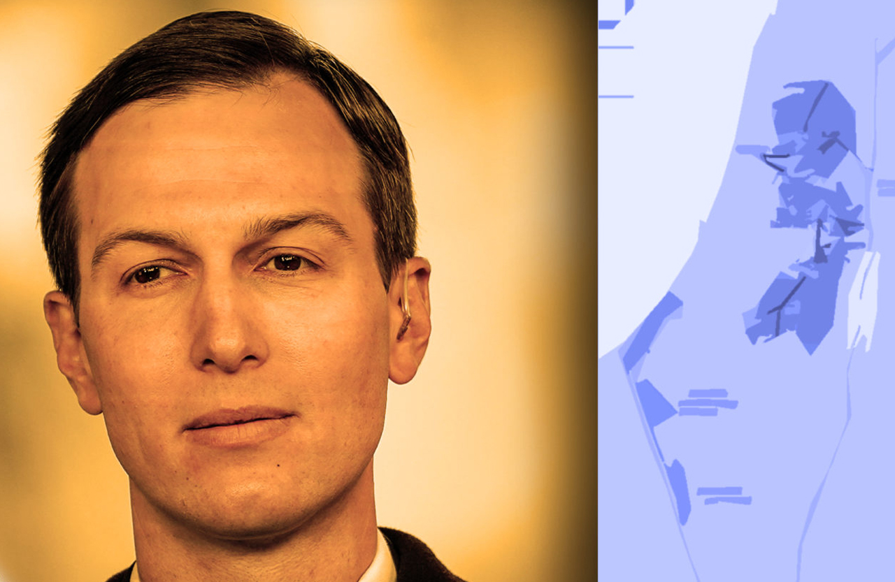 Jared Kushner, an architect of the Trump peace plan with a map of the plan (Getty Images/JTA Montage)
