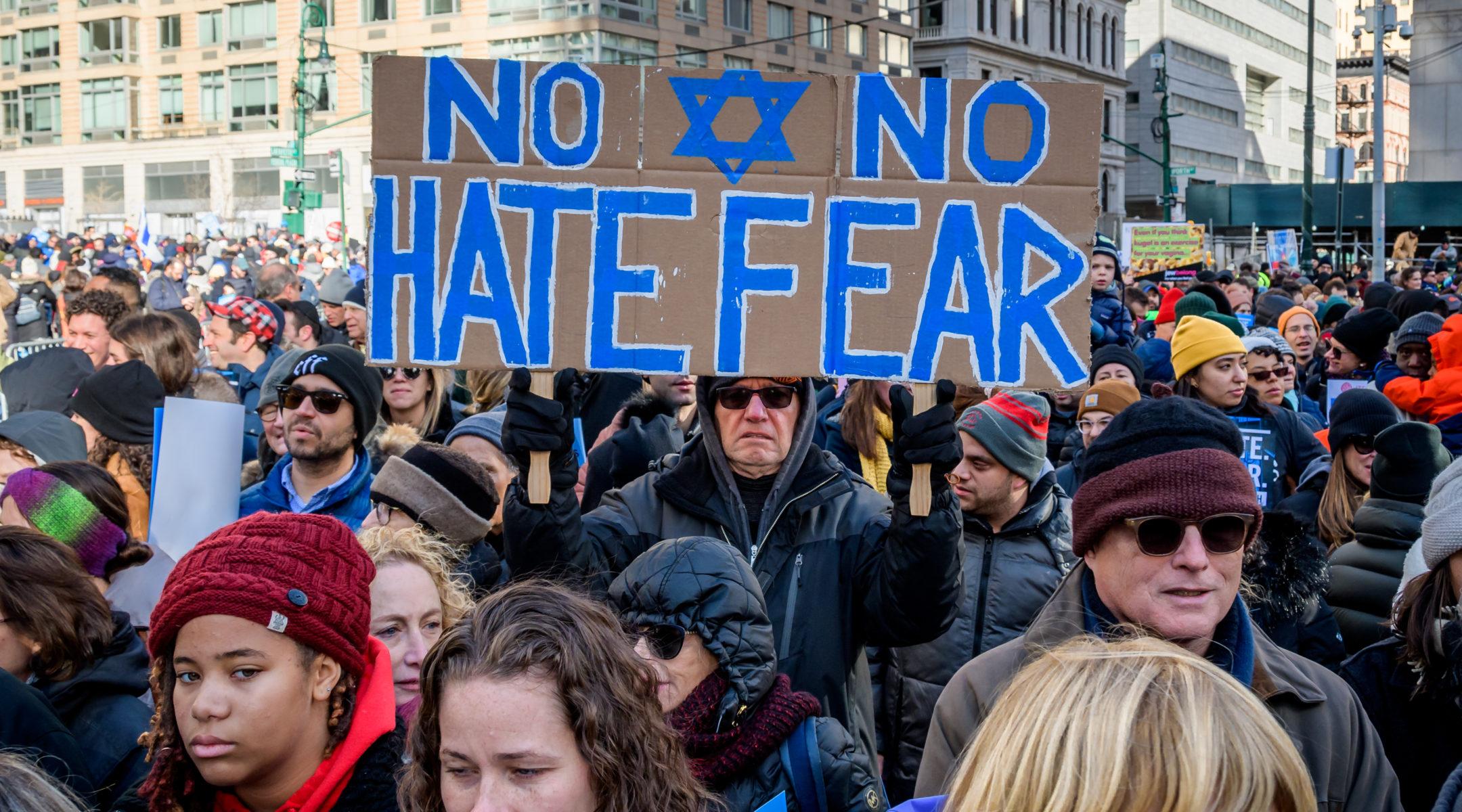 "Participants in the ""No Hate, No Fear"" solidarity march in lower Manhattan, Jan. 5, 2020. (Photo/JTA-Erik McGregor-LightRocket via Getty Images)"