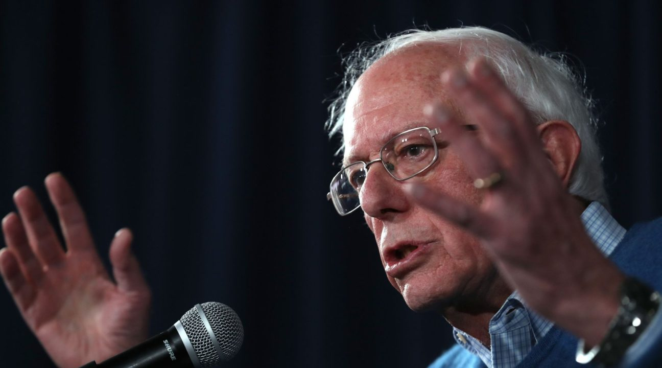 Bernie Sanders speaks during a press conference at his New Hampshire campaign headquarters in Manchester, New Hampshire, Feb. 06, 2020. (JTA/Justin Sullivan/Getty Images)