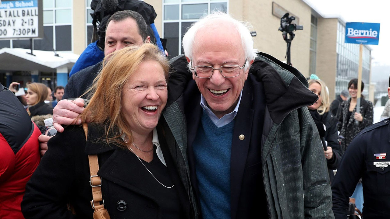 Democratic presidential candidate Bernie Sanders and wife Jane outside a polling station in Manchester, N.H., Feb. 11, 2020. (JTA/Joe Raedle/Getty Images)