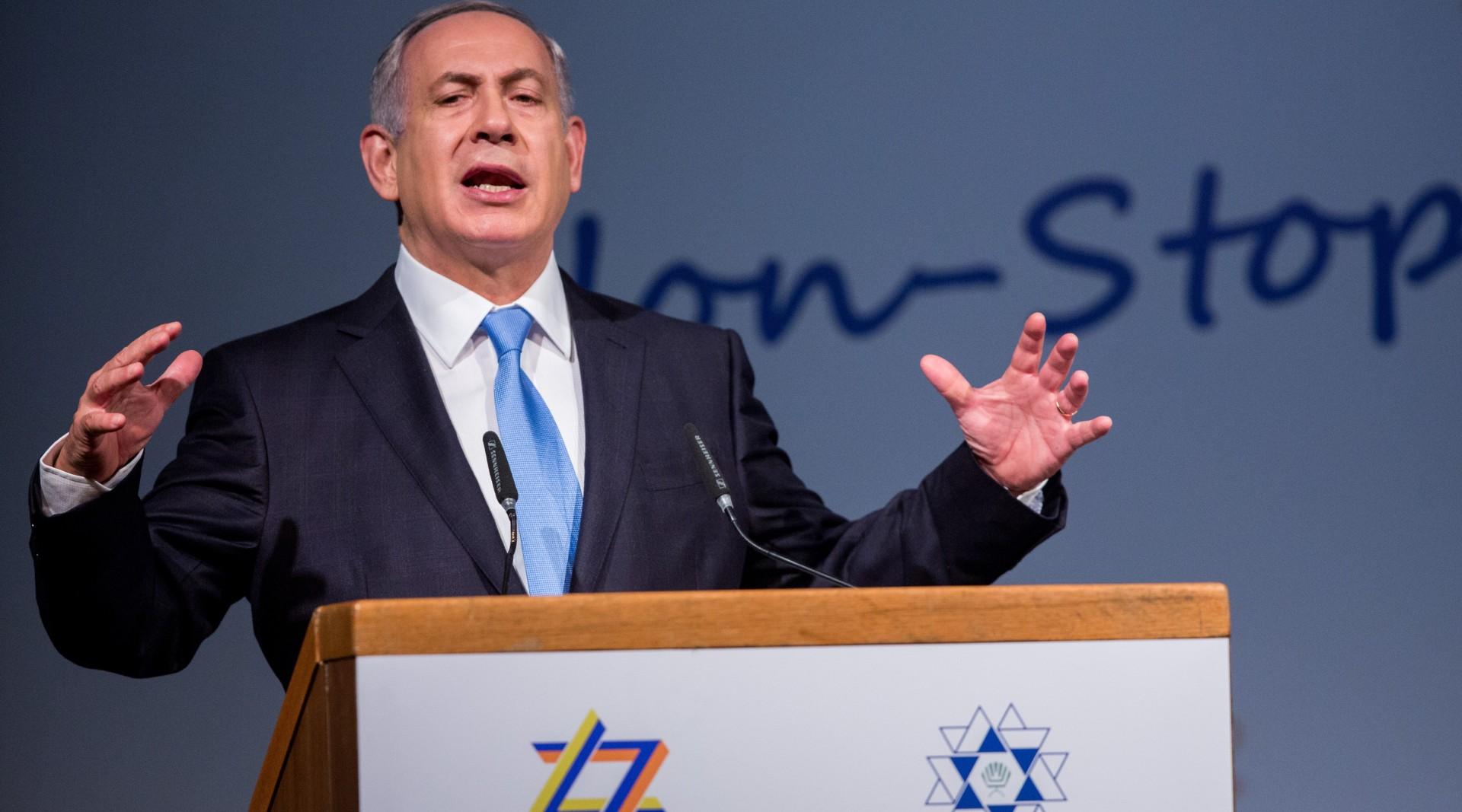 Israeli Prime Minister Benjamin Netanyahu speaks at the 37th World Zionist Congress in Jerusalem, Oct. 20, 2015. (JTA/Yonatan Sindel/Flash90)