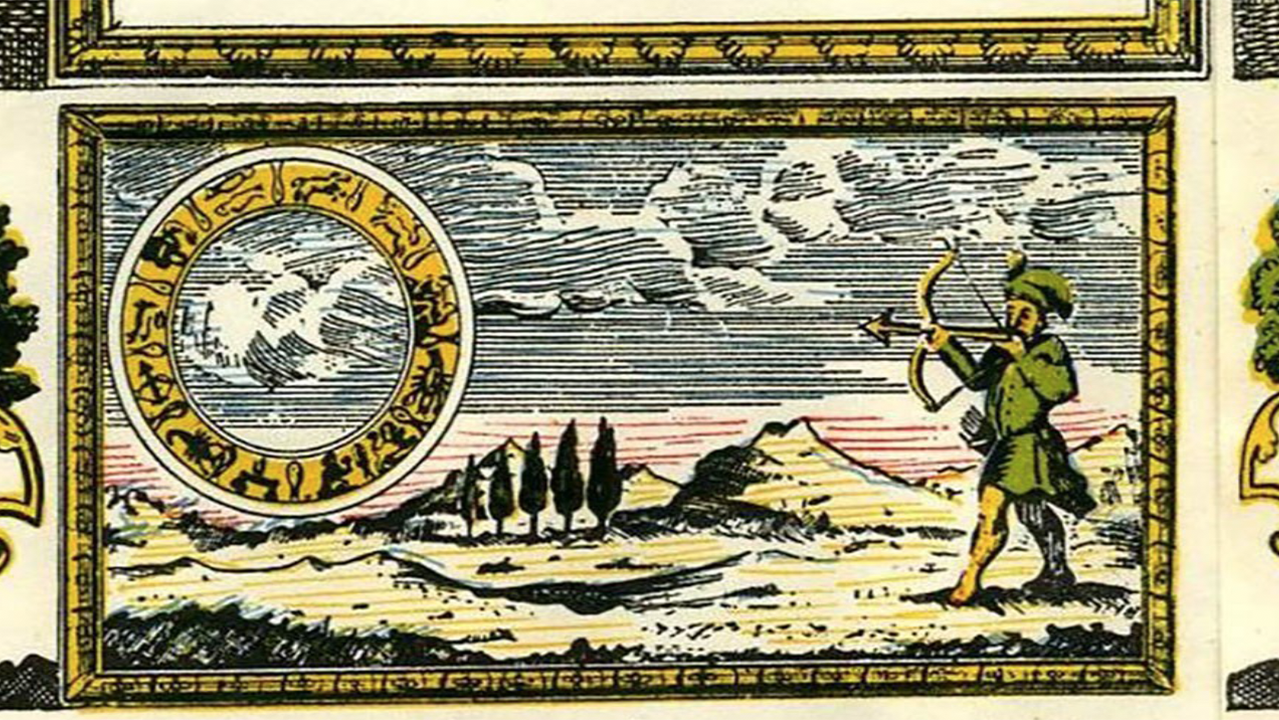 Haman shooting an arrow at the zodiac to forecast the future in an 18th-century Dutch megillah. (Photo/Collection of Shalom Sabar)