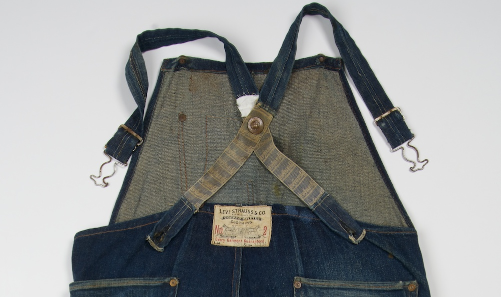 Levi Strauss bib overalls, ca. 1900 — currently on display at Contemporary Jewish Museum in San Francisco. (Levi Strauss & Co. Archives)