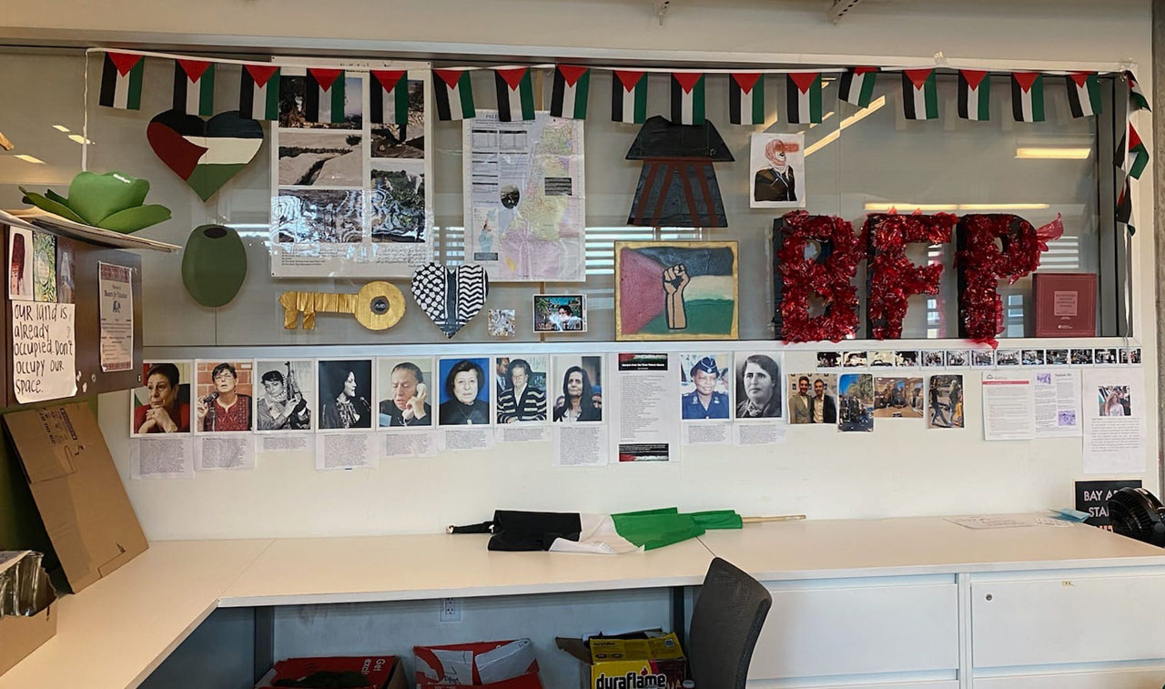 A display at a Bears for Palestine space at UC Berkeley glorifies terrorists, according to pro-Israel students. (Shelby Weiss)