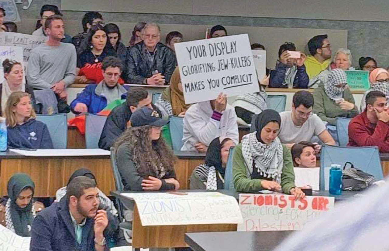 Big turnout at a Feb. 3 UC Berkeley student union meeting where pro-Israel and anti-Israel student groups debated a measure to remove a controversial Bears for Palestine display.  (Twitter/StandWithUs)
