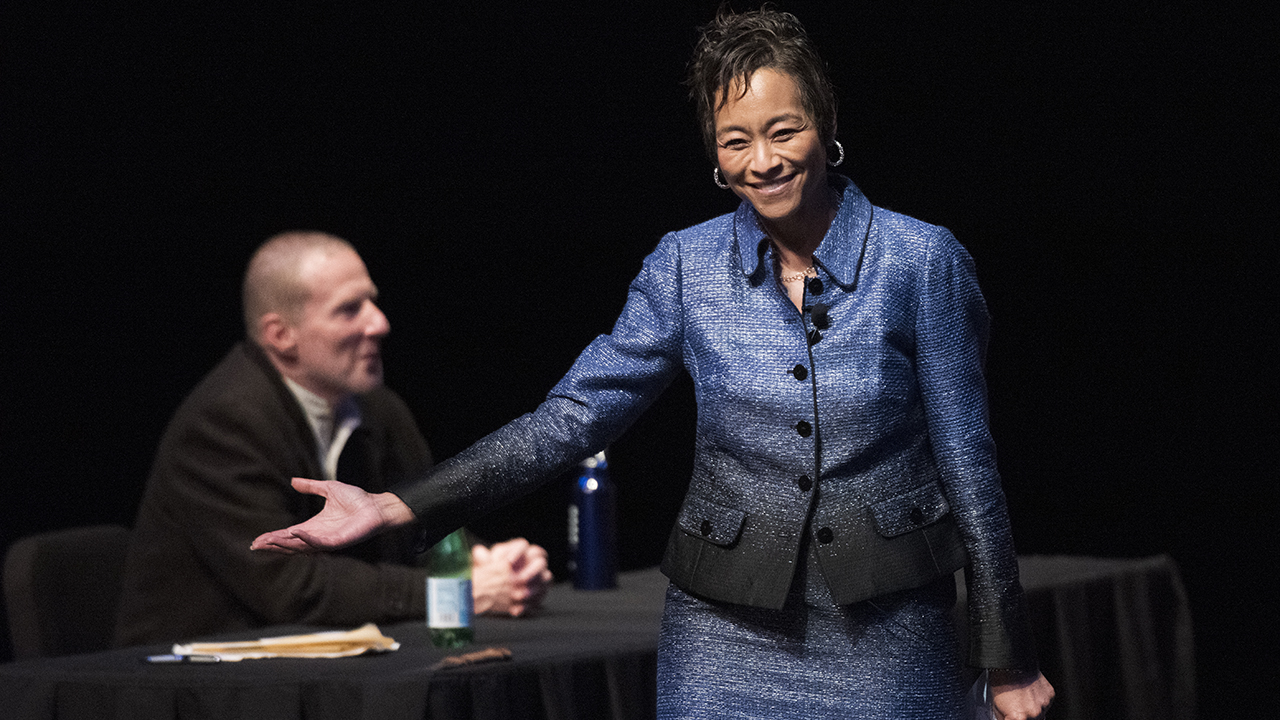 """UC Irvine Law Dean L. Song Richardson on stage in""""Shakespeare Trial: The Shylock Appeal"""" (Courtesy Berkeley Law School)"""