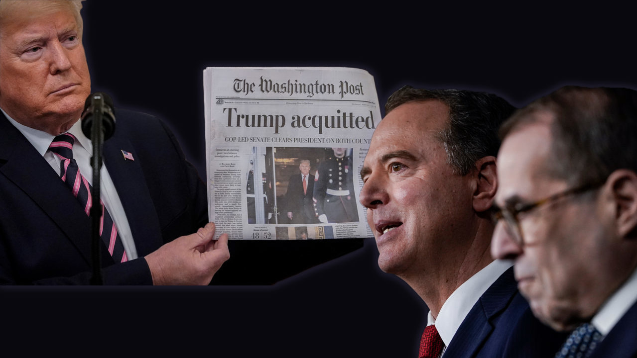 "President Trump holds a Washington Post bearing the headline, ""Trump acquitted""; Rep. Adam Schiff (D-Calif.); Rep. Jerry Nadler (D-N.Y) (JTA/Getty Images)"