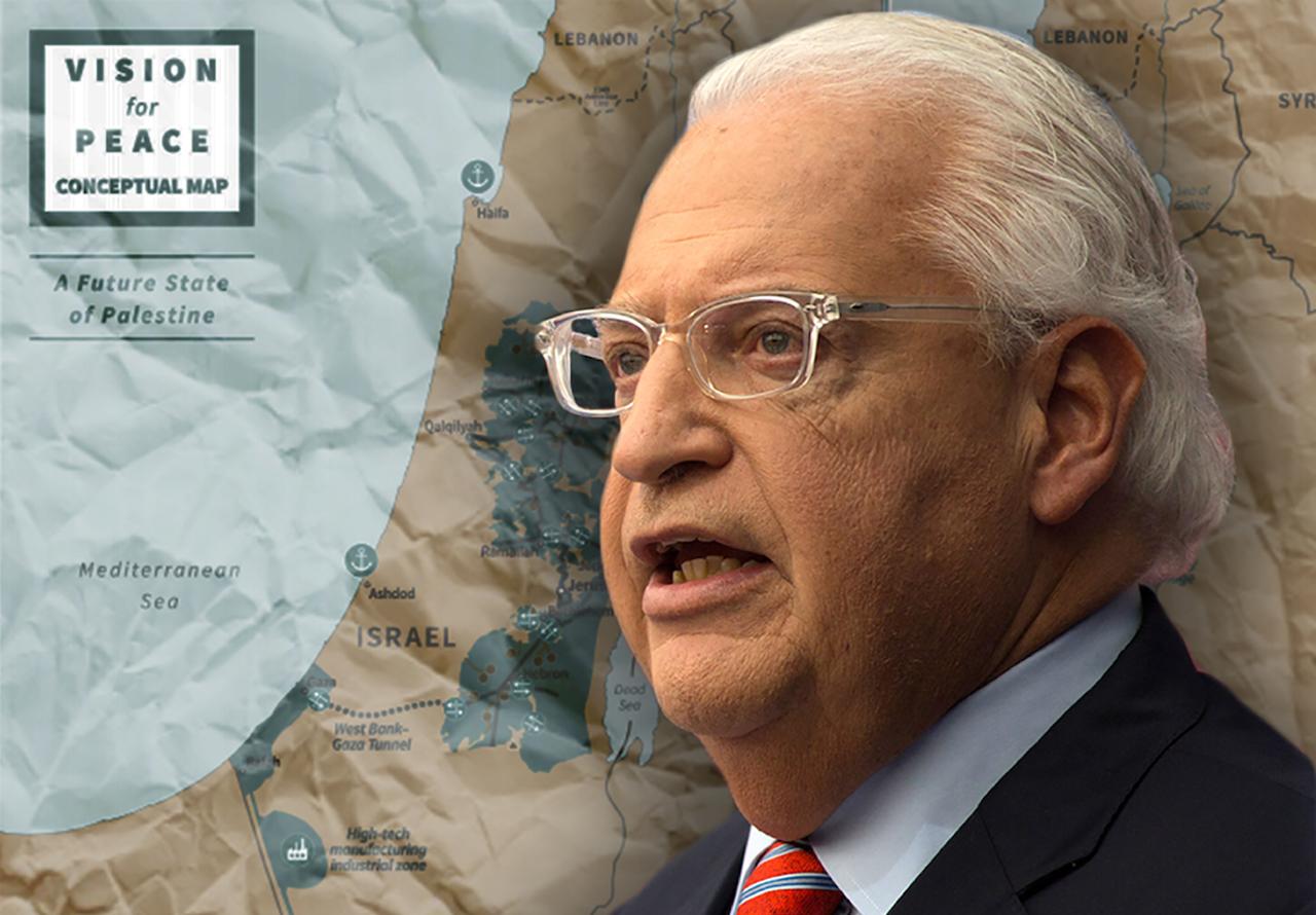 U.S. Ambassador to Israel David Friedman and the Trump administration's proposed peace plan map. (JTA/Lior Mizrahi/Getty Images)