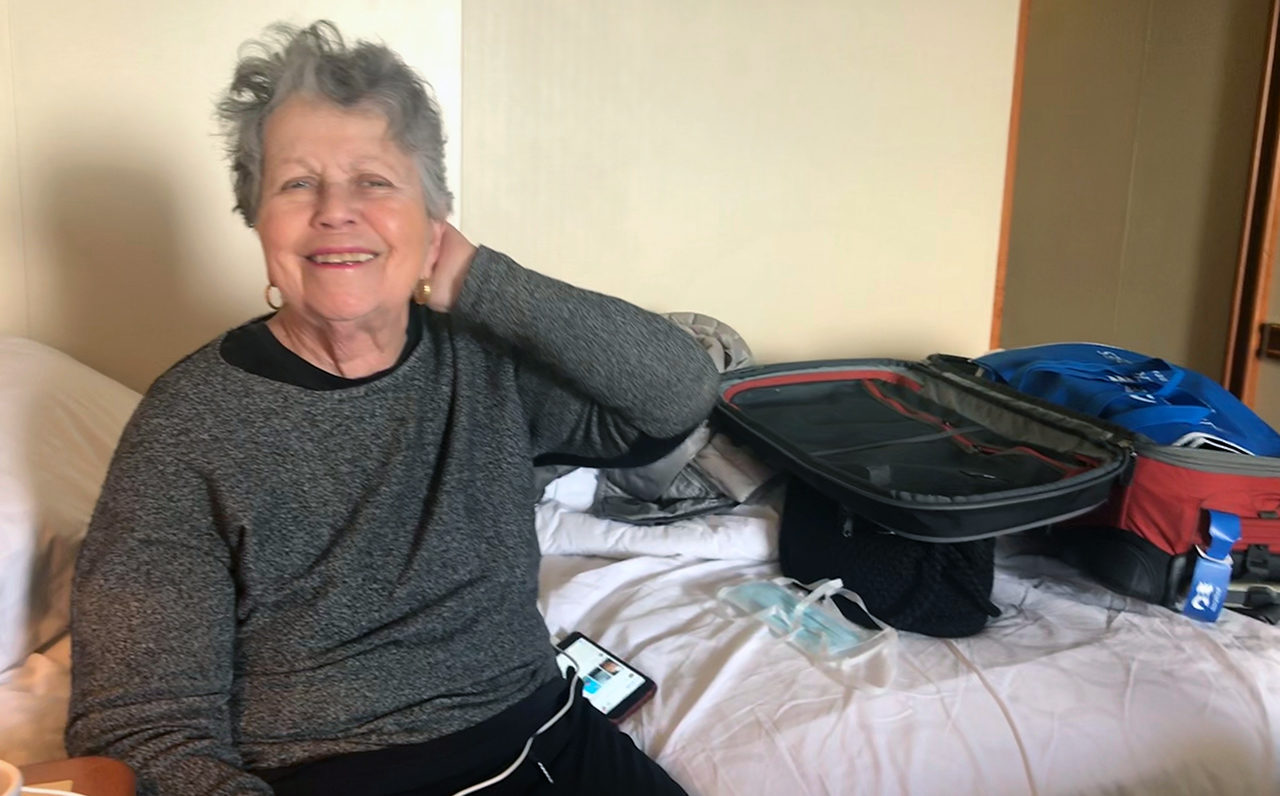Hinda Gilbert, 82, a member of Congregation Emanu-El in San Francisco, in quarantine at Travis Air Force Base after she returned from a cruise on the Grand Princess.