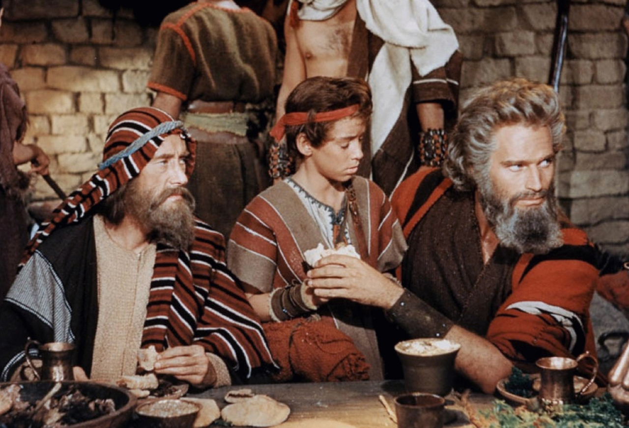 "Moses (played by Charlton Heston) during the first Passover night in Cecile B. DeMille's 1956 film ""The Ten Commandments."""