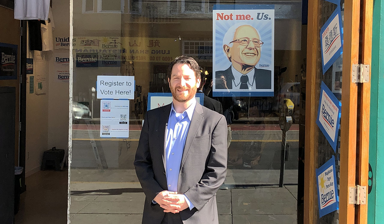 Joel Rubin, Jewish outreach director for the Bernie Sanders campaign, in front of the campaign's San Francisco office, Feb. 2020. (GABE STUTMAN)
