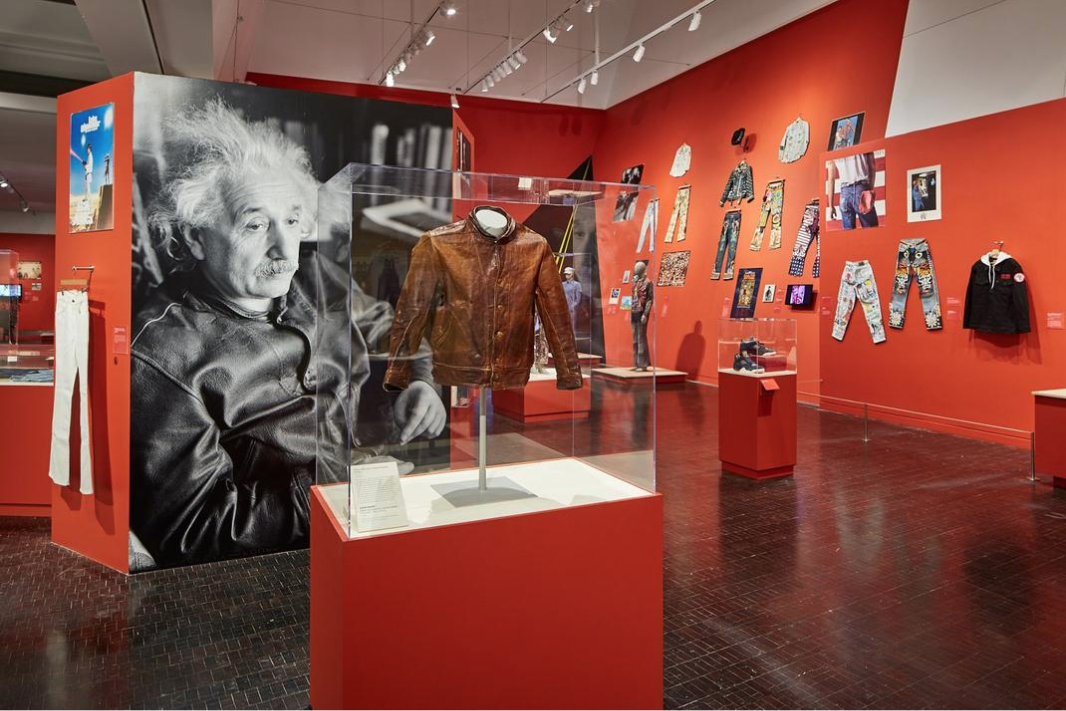 "Screenshot of the Contemporary Jewish Museum's virtual tour of its exhibit ""Levi Strauss: A History of American Style."" (THECJM.COM)"