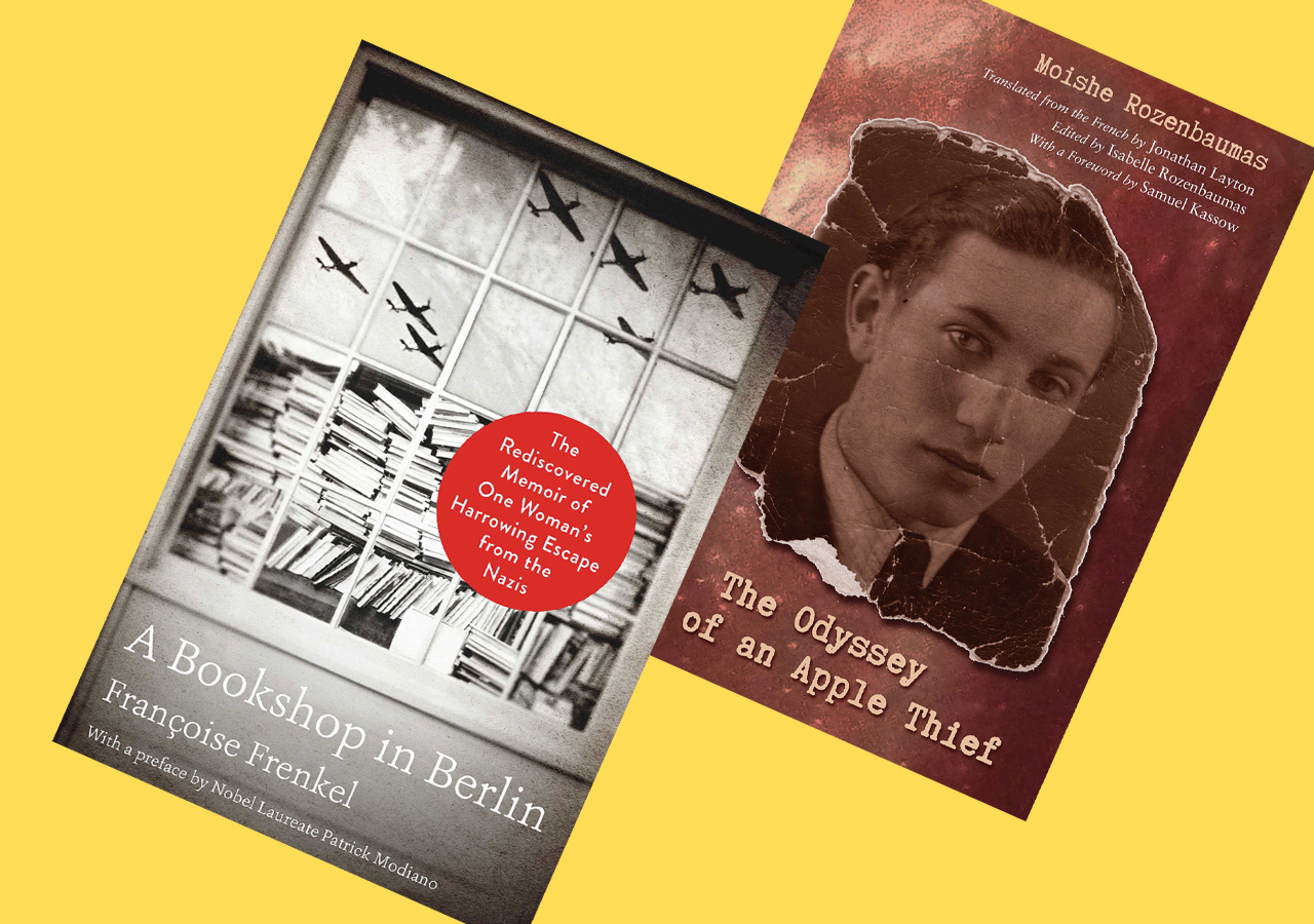 """Covers of """"A Bookshop in Berlin"""" by Francoise Frenkel and """"Odyssey of an Apple Thief"""" by Moishe Rozenbaumas"""