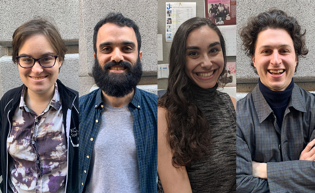 Say hello to some new faces of J.: Editorial Assistant Rebecca D. Landau; News Editor Gabe Stutman; Development Assistant Shauna Satnick; and Staff Writer Gabriel Greschler. (SUE BARNETT, DAVID A.M. WILENSKY)
