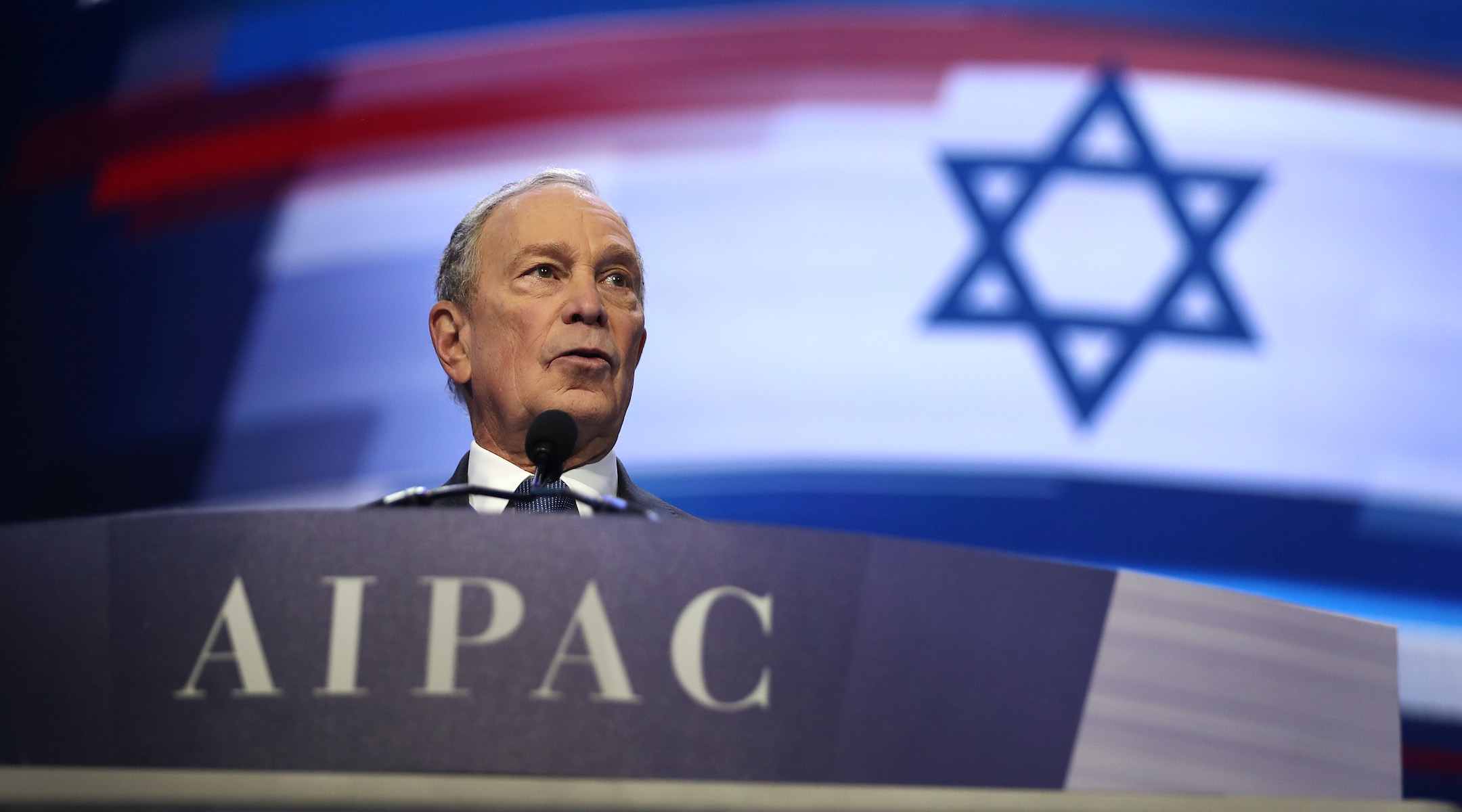 Democratic presidential candidate Mike Bloomberg appears in person at the AIPAC policy conference in Washington, March 2, 2020. (JTA/Saul Loeb/Getty Images)