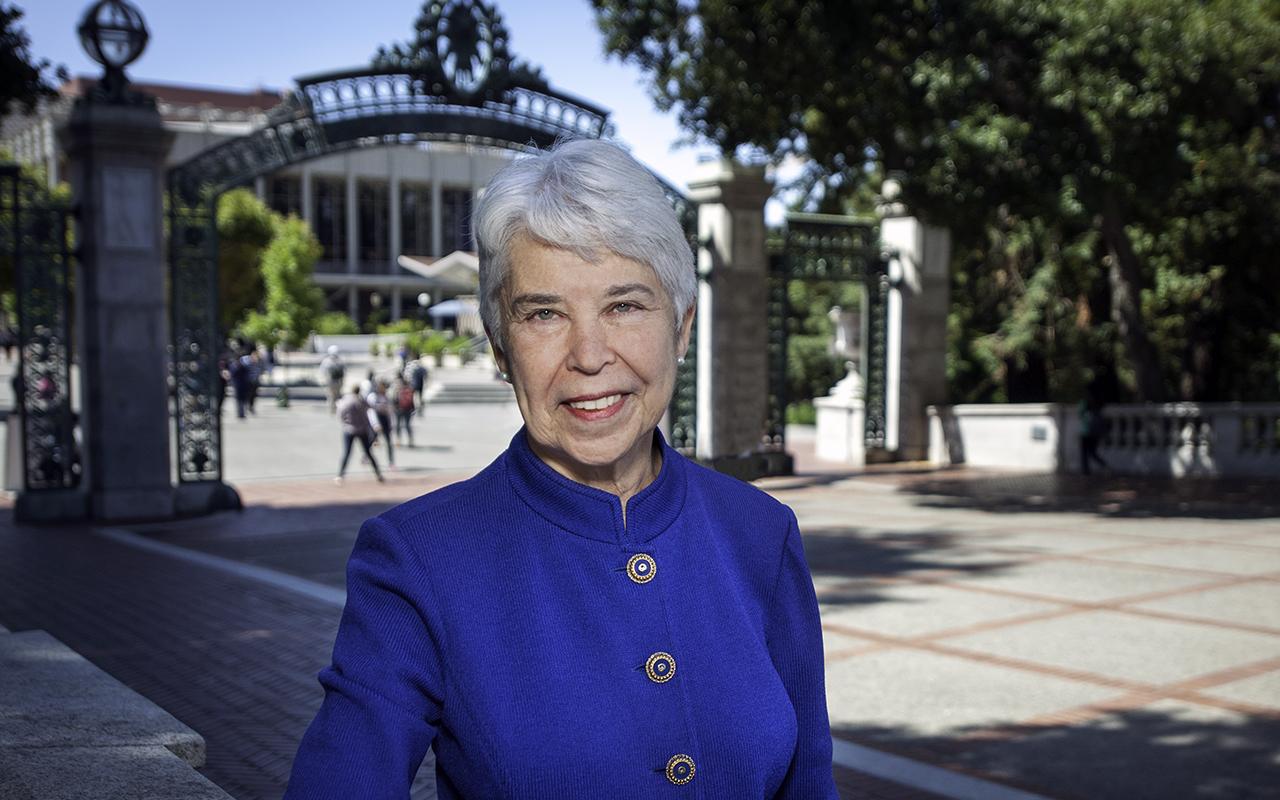 Chancellor Carol Christ on the Cal campus. (Courtesy UC Berkeley)