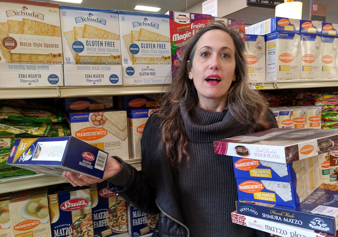A very overwhelmed Maya Mirsky in the Passover aisle at the grocery story. (NINA LUKACS)