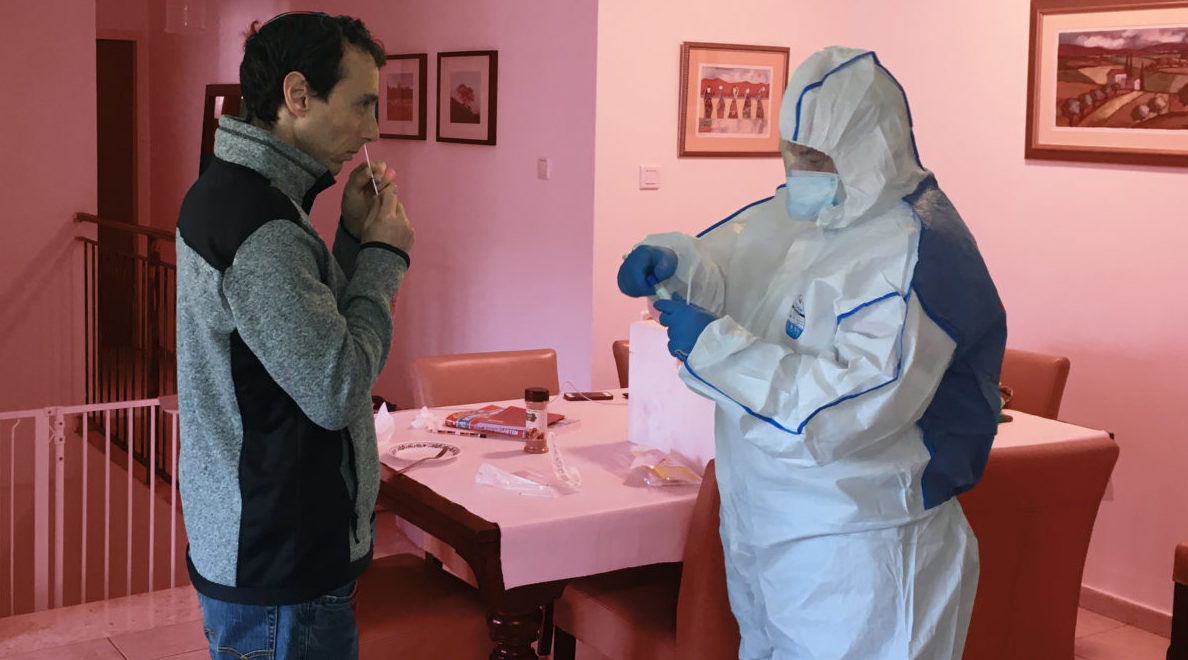The author is tested for coronavirus while under quarantine in Israel. (JTA/COURTESY HEILMAN)