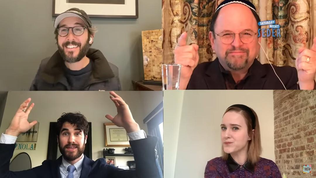 Jason Alexander, upper right, invites non-Jews Josh Groban, upper left, Darren Criss, lower left and Rachel Brosnahan to join in a virtual Seder webcast on YouTube, April 11, 2020.