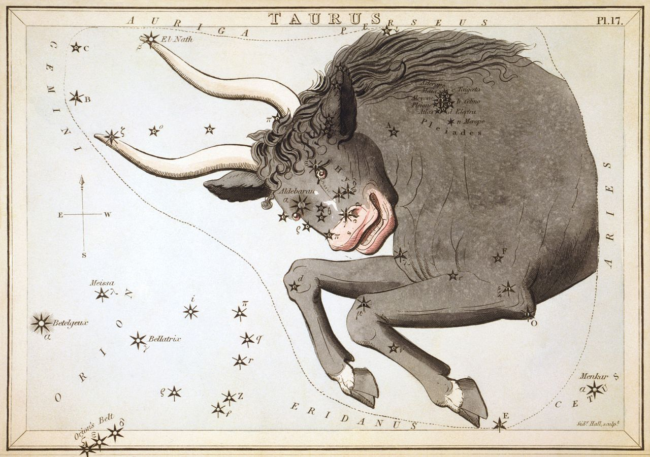 Taurus (Shor) is this month's ruling sign. (Illustration/Jehoshaphat Aspin, 1825)