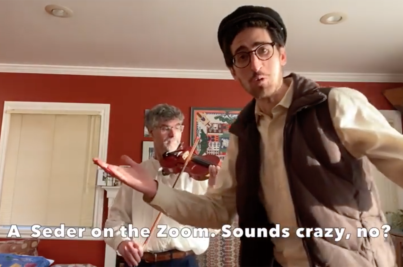 """Eli Wirtschafter (right) and father Josh in their family's """"Fiddler on the Roof"""" coronavirus parody video. (Screenshot/YouTube)"""