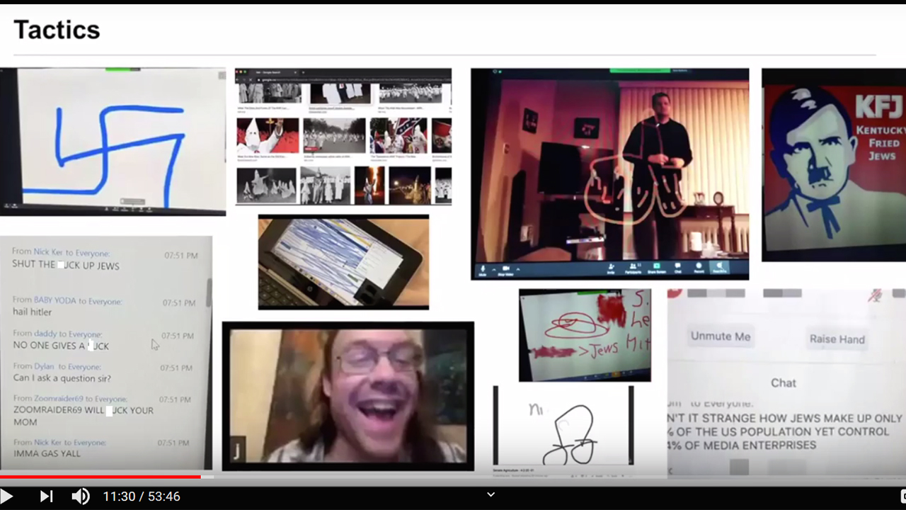 """Screenshot from an Anti-Defamation League webinar on preventing """"zoombombing."""""""