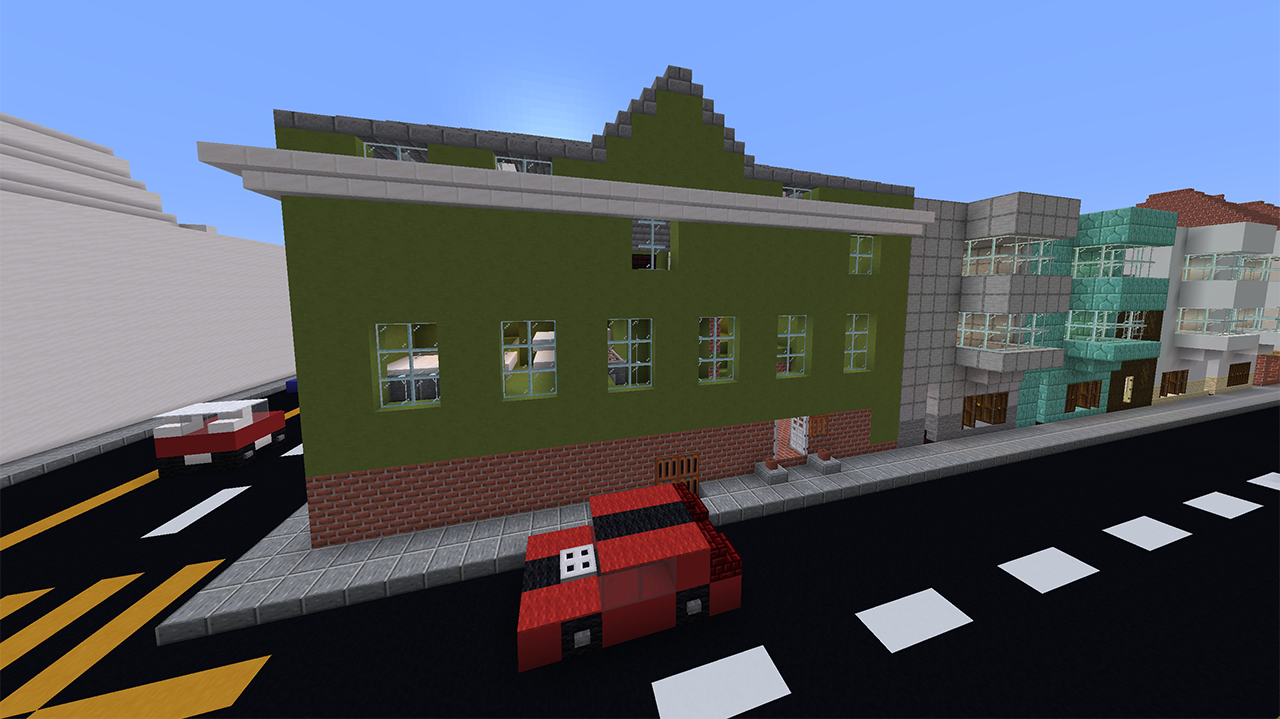The exterior of San Francisco's Congregation Sha'ar Zahav, as rendered in Miecraft. (Screenshot/Courtesy Joel Lachter)
