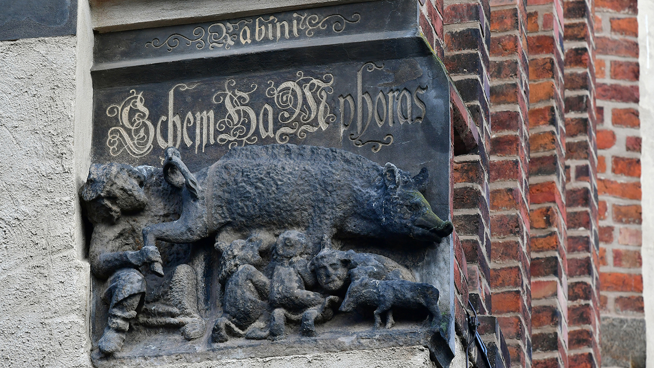 A Judensau sculpture on display on the outer wall of the town church of St. Marien in Wittenberg, Germany, Feb. 4, 2020. (Photo/JTA-Hendrik Schmidt-Picture Alliance via Getty Images)