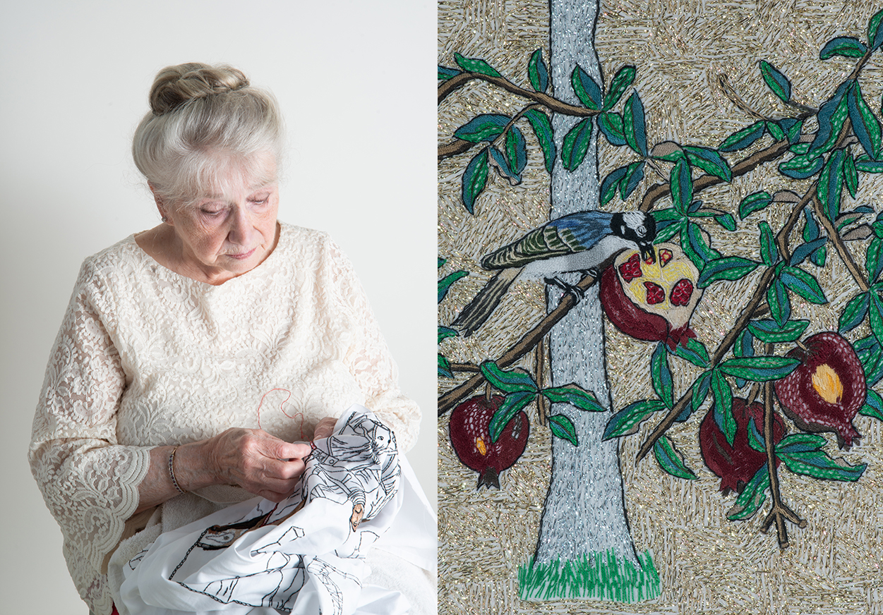 """Trudie Strobel stitching (Photo/Ann Elliott Cutting);  Detail from """"Four Embroideries of Trees in Four Seasons (Autumn)"""" by Trudie Strobel."""