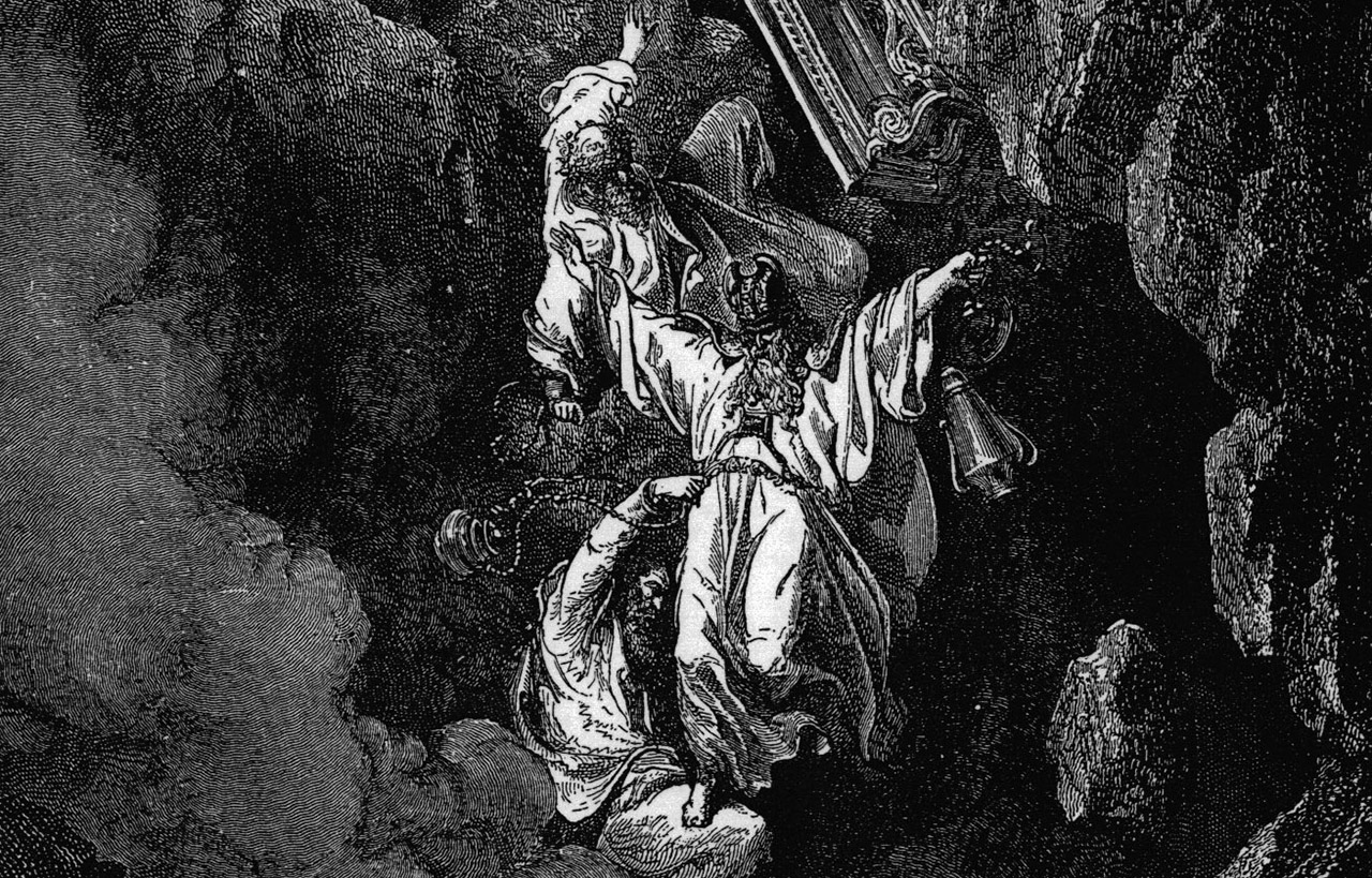"""""""The Death of Korah, Dathan and Abiram"""" by Gustave Doré, 1865"""